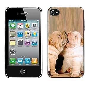 PC/Aluminum Funda Carcasa protectora para Apple Iphone 4 / 4S French Bulldog Baby Puppy Kiss Love / JUSTGO PHONE PROTECTOR