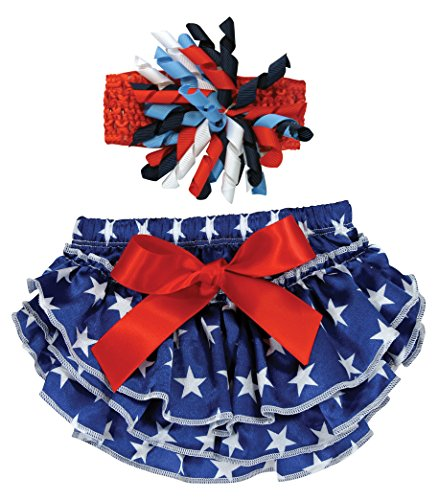 Stephan Baby Stars and Stripes Ruffled Diaper Cover and Curly Bow Headband, 6-12 (Multi Stripe Diaper Cover)