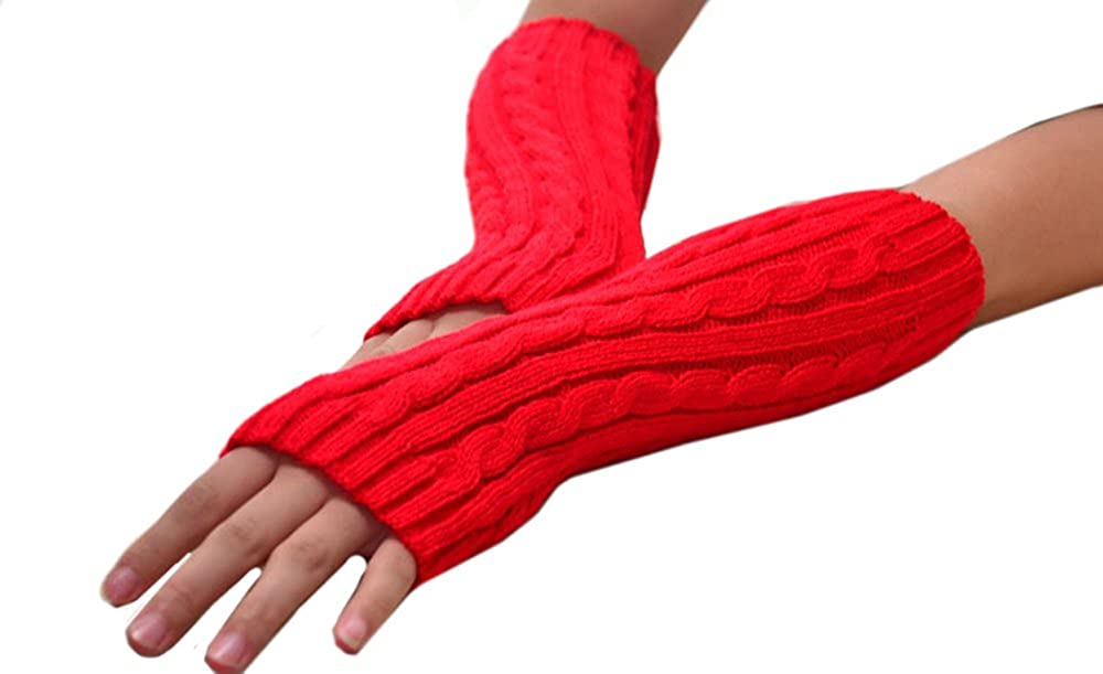 Hii-Yo Fashion Long Warm Cashmere Cotton Flexible Fingers Winter Gloves