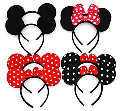 ZICOME Pack of 8 with 4 kinds - Mickey Mouse Ears Solid Various Style Black and Bow Minnie Headband for Boys and Girls Birthday Party or Celebrations (Pack of 8) by ZICOME