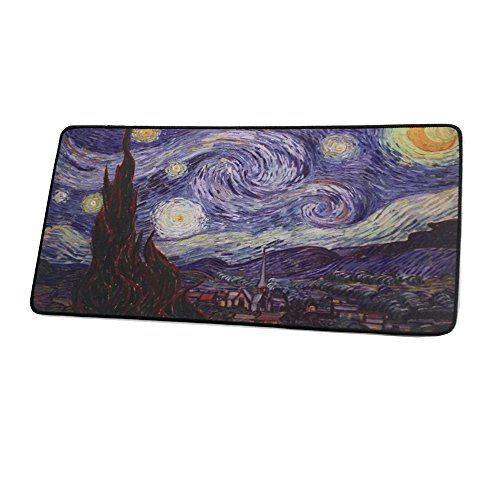(23.52x 1.8x 0.12 inches Extended Xxxl Gaming Mouse Pad The Starry Night by Van Gogh Non-Slip Rubber Base Mouse Pad)