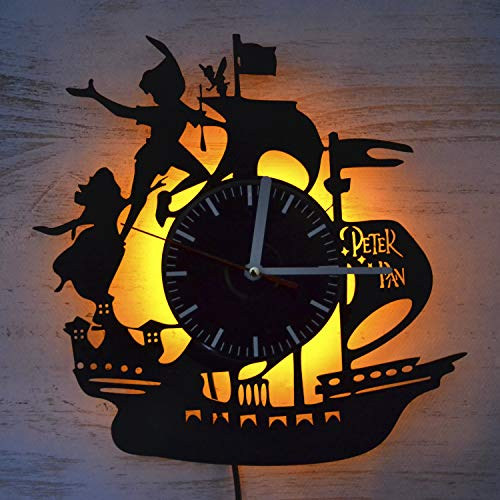 Peter Pan Fictional Character Night Light Wall Lights Vinyl Record Wall Clock Vintage Wall Clock Room Interior Decor The Best Gift for Peter Pan Lover Nursery Decor Amazing Gift for Kids Night Light