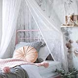 Jeteven Mosquito Net White Lace Dome Hanging Bed Canopy Play Tent Height 250cm/98.4in for Kids