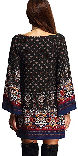 MRstriver Women's Bohemian Vintage Printed Ethnic Style Loose Casual Tunic Dress Black3X]()