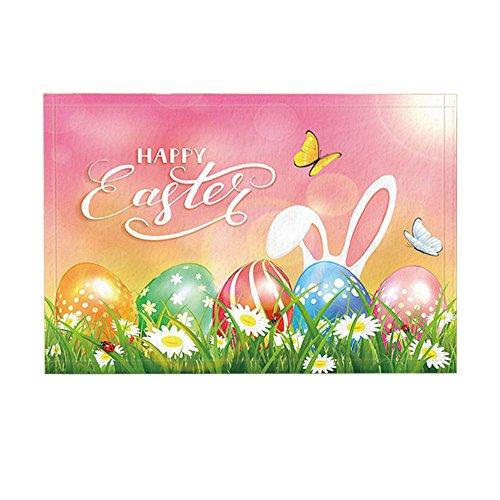 NYMB Happy Easter Decor, Colorful Eggs in Grass and Flowers with Butterflies Flying Bath Rugs, Non-Slip Doormats Floor Entryways Indoor Front Door Mat, Kids Bath Mat, 15.7x23.6in, Bathroom Accessories
