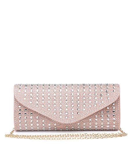 Party ME68025 Evening Women's Bag Diamante Glitter Envelope Ladies Pink Clutch Handbag SqfP0Wa