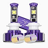 MICTUNING H7 CREE LED Headlight Bulbs Conversion Kit - 60W 6,000Lm Cool White w/ Amber Filter, 2 Years Warranty