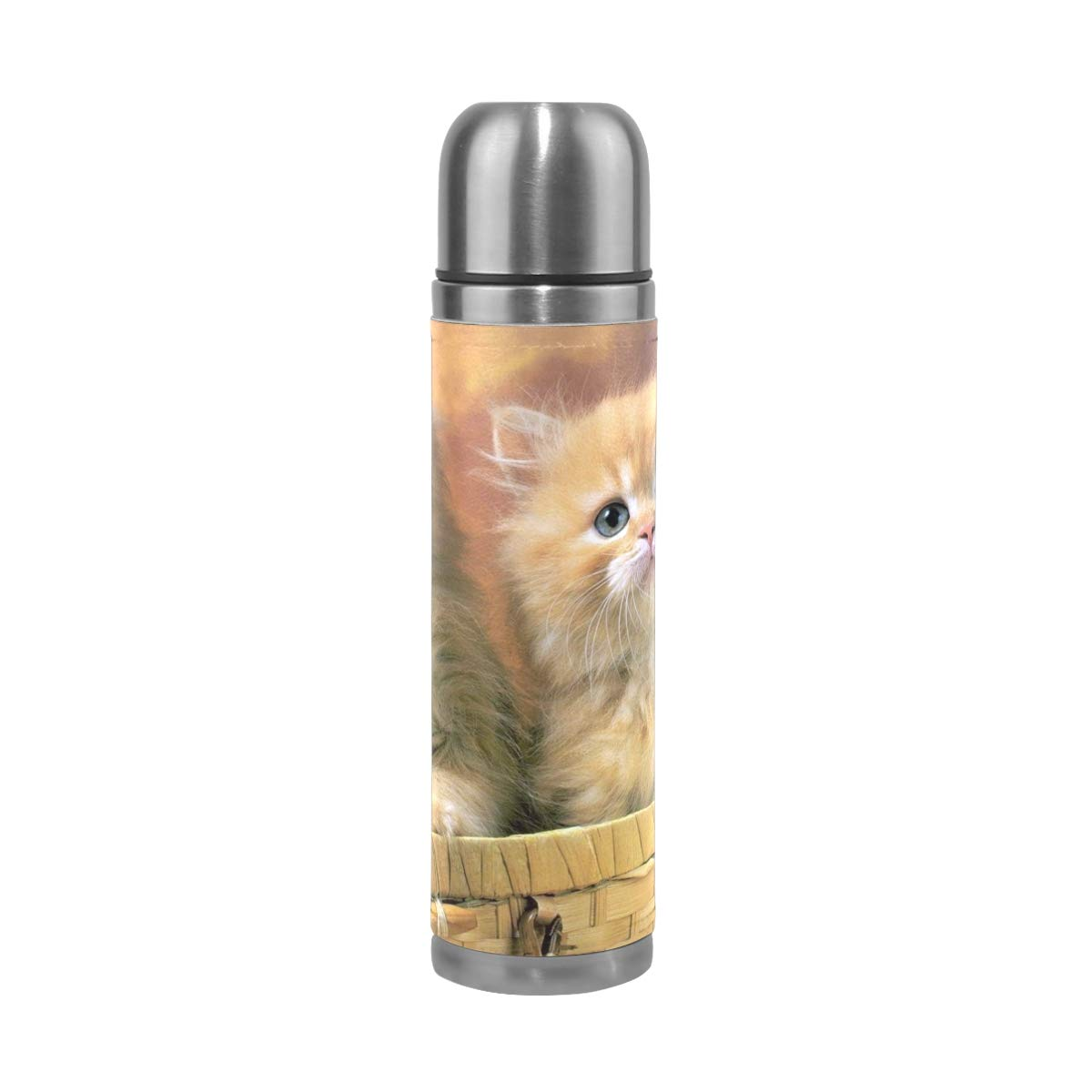 OuLian Thermos Cute Cat Animals Cycling Insulated Stainless Steel Water Bottle Leak Proof Thermos Leather Cover 17 Oz