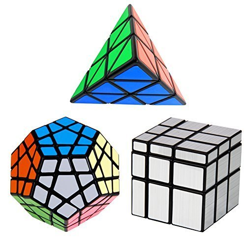 Cube Magic Triangle - Set of 3 Speed Cube Pyraminx, Megaminx, Silver Mirror, YKL World Magic Puzzles for Kids Toy Gift