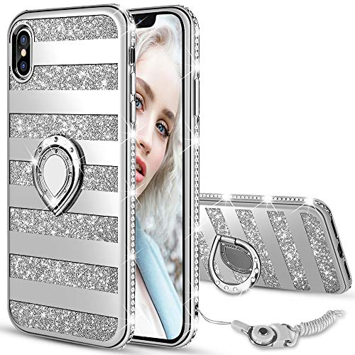 Maxdara Case for iPhone X/iPhone Xs Glitter Case Striped Ring Holder Kickstand Grip Bling Sparkle Diamond Rhinestone Protective Bumper Luxury Pretty Fashion Girls Women Case X/XS 5.8 inch (Silver)