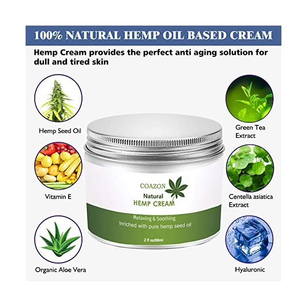 Hemp Cream | Face Cream | Anti-Aging | Anti-Wrinkle & Fine Lines Hyaluronic Acid Vitamin E Relives Tension Stress | Firming Face & Neck Moisturizer-60ml
