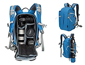 Beaspire DSLR Camera Photography Backpack Travel Hiking Professional Camera Bag Canon Nikon Sony Olympus Panasonic Pentax Camera Tripod Digital Accessories Man Woman(Blue)