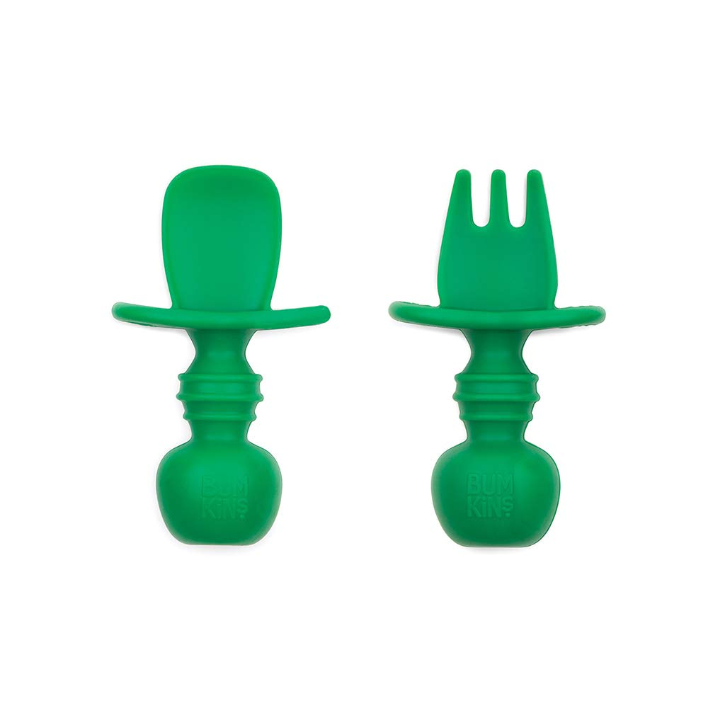 Bumkins Silicone Chewtensils, Baby Fork and Spoon Set, Training Utensils, Baby Led Weaning Stage 1 for Ages 6 Months+ in Jade