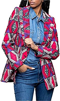 WentShopping Women Long Sleeve Collar Neck African Floral Dashiki Jacket Blazer Suits Purple