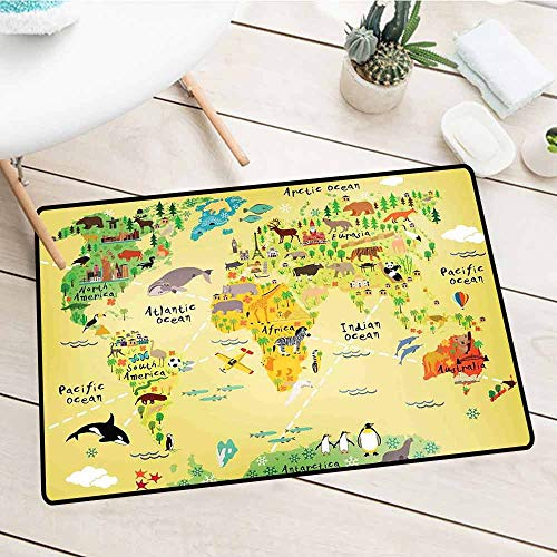 Kids Decor Stylish Polyester Door mat Educational World Map Africa America Penguins Atlantic Pacific Ocean Animals Australia Panda Suitable for Fashion and Creativity W20 x L31 Inch -