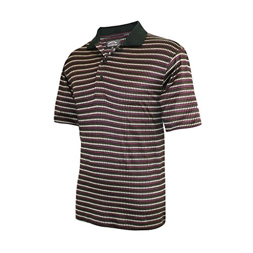 Monterey Club Mens Pima Cotton Jacquard Shirt #1388 (Black/Plum, 2X-Large) (Double Mercerized Pique Mens Shirt)