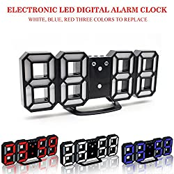 LED Wall Clock with Color Changing Function, Novelty 3D Digital Desktop Alarm Clock, Snooze, 3 Levels Brightness Control, 24/12 Hour Display, Powered by USB (Black Frame, Red-White-Blue Light)
