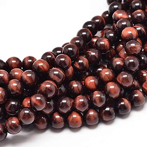 Calvas Natural Red Tiger Eye Round Bead Strands, UnDyed & Heated, 8mm, Hole: 1mm; About 49pcs/Strand, ()