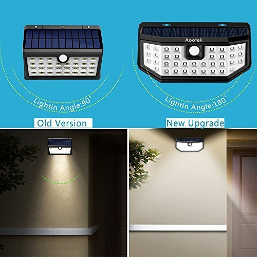 New Upgraded 36 LED Solar Lights with Wide Angle Illumination,Outdoor Motion Sensor Waterproof Wall Light Wireless Security Night Light with 3 Modes for Driveway Garden Back Door Step Stair Fence Deck