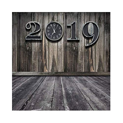 Tech 12' Wall Clock - Vinyl 8x8ft Grunge Retro New Year 2019 Photography Background Grunge Old Moldy Dirty Wooden Wall Clock Dial Countdown Shabby Wood Texture Floor Backdrops Artistic Photo Studio Props
