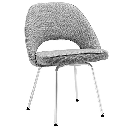 Modway Cordelia Mid-Century Modern Upholstered Fabric Dining Side Chair with Chrome Legs In Light Gray