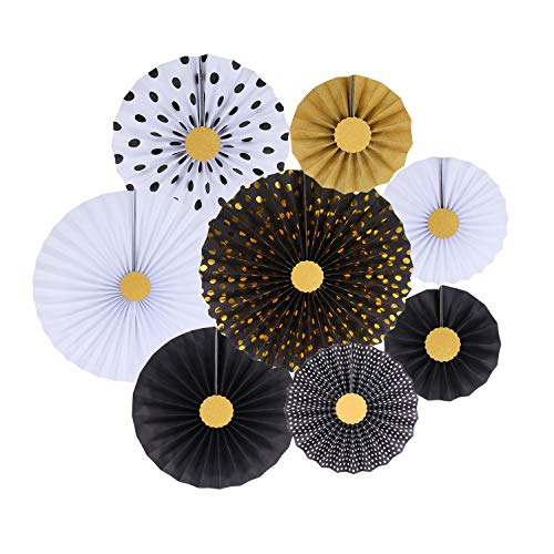 Zilue Black Party Hanging Paper Fans Decoration Set for Wedding Birthday Party Baby Showers Round Events Accessories Set of -