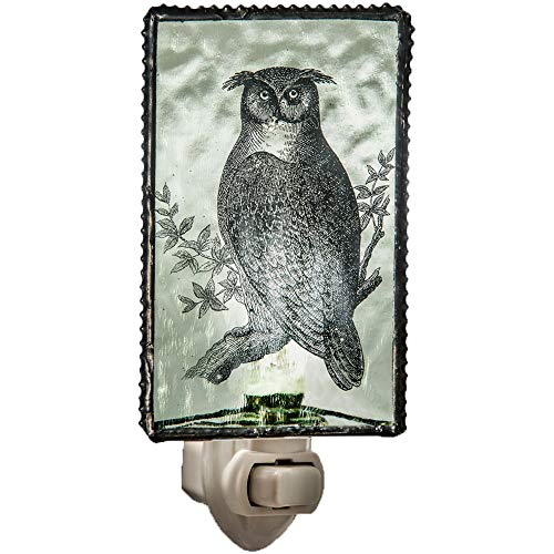 (J Devlin NTL 131-2 Owl Night Light Pale Green Stained Glass Decorative Bird Accent)