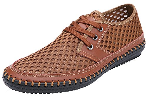 MOHEM Men's Poseidon Quick Drying Casual Aqua Water Shoes Mesh Walking Shoes(3166L.Brown44)