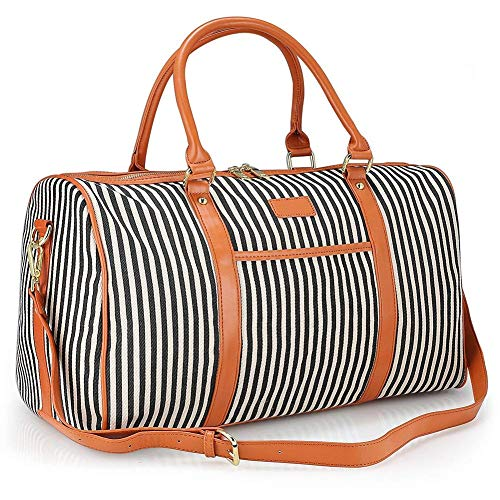 Large Women Weekender Bag,AIZBO Canvas Overnight Weekend Bag Travel Duffel...