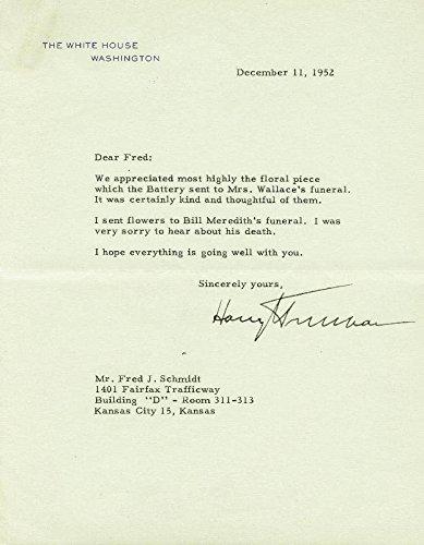 President Harry S Truman Typed Letter Signed 12/11/1952