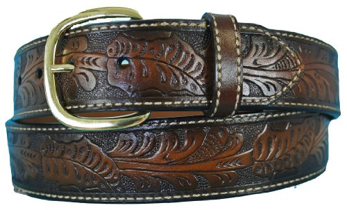 [Aquarius Men's Big and Tall Western Cowboy Leather Belt Brown Size 54 Waist] (Big Cowboy Belt)