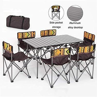 Conjuntos de muebles mesas y sillas plegables, mesa de picnic y sillas, jardín de los niños Mesa Juego de sillas, 6 sillas 1 Tabla silla de camping (color: vino tinto, Tamaño: 6