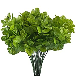 HUAESIN 4 Bunch Fake Flowers for Outside Faux Eucalyptus Leaves Plant Plastic Flowers Shrubs for Pot Vase Filler Bedroom 69