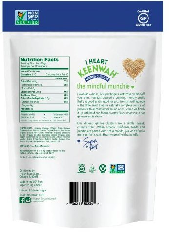 I Heart Keenwah Almond Quinoa Clusters, 4 Ounce Bag (Pack of 3)