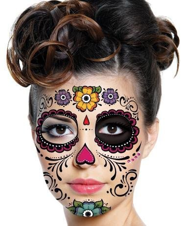 Floral day of the dead sugar skull temporary face tattoo for Face tattoo makeup