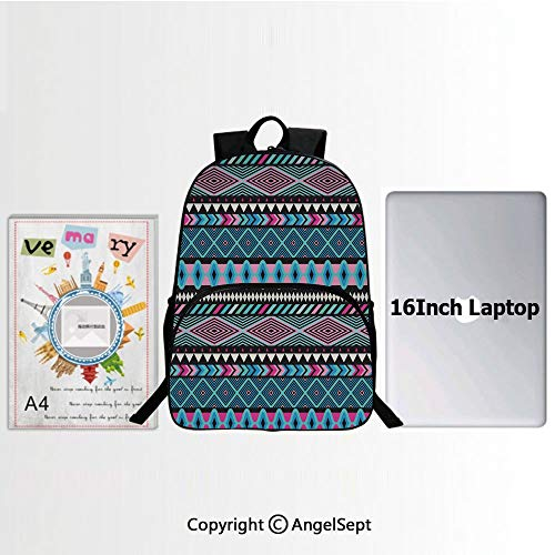 School Backpack Casual Daypack Travel Outdoor,Vector Vintage Ethnic with Boho Stripes and Shape Image Print 15.7