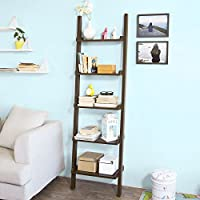 Haotian Leaning Ladder Book Shelf Made of Wood with Five Floors, Bookcase, wall shelf, 56x189cm FRG17-BR