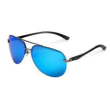 MPTECK @ Gafas de Sol Hombre Polarizadas clásico polarizado UV 400 Protección Azul / Gunmetal Marco