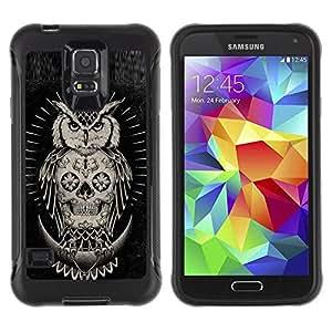 "Pulsar iFace Series Tpu silicona Carcasa Funda Case para Samsung Galaxy S5 V , Cráneo búho nativo americano Negro"""