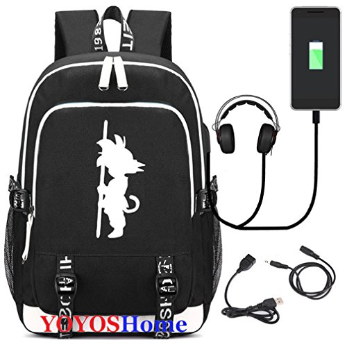YOYOSHome Luminous Japanese Anime Cosplay Daypack Bookbag Laptop Bag Backpack School Bag with USB Charging Port (Dragon Ball Z -