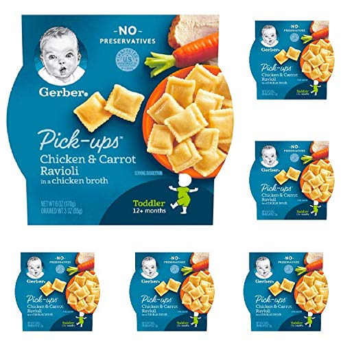 6 Individual Trays of Gerber Pasta Pick-Ups, Chicken and Carrot Ravioli Packed in Chicken Broth, 6 - Carrot Ravioli