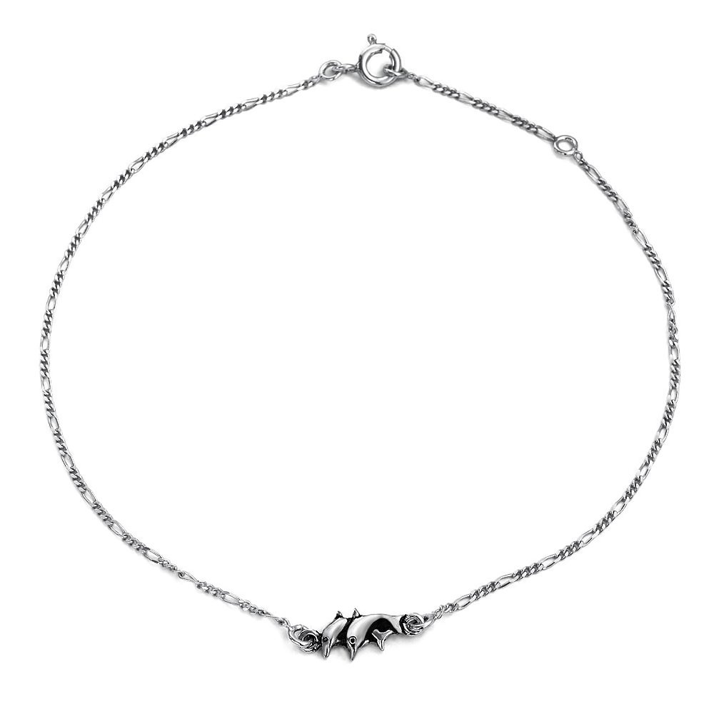 Bling Jewelry Sterling Silver Nautical Dolphin Anklet Figaro Chain 10in PS-TBG374-10