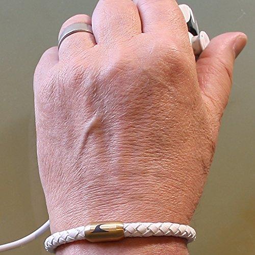 87230ce3a4e6 Durable Modelando wavepirate® Piel de pulsera Sylt g blanco oro hombre