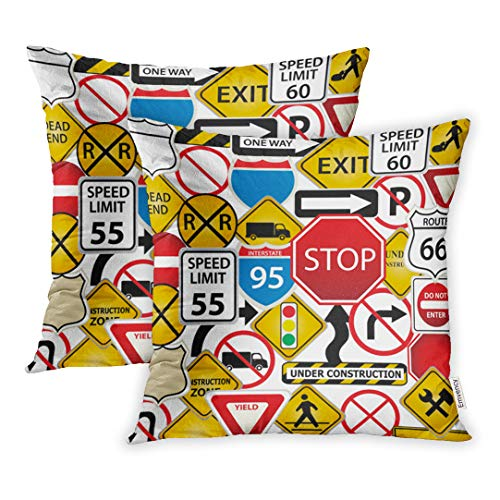 Highway Construction Signs - Emvency Throw Pillow Covers 16 x 16 Inches Set of 2 Street Collage Road Traffic Signs Highway Stop Construction Freeway Exit Pillow Case Decorative Cushion Cover Two Sides Print Pillowcase