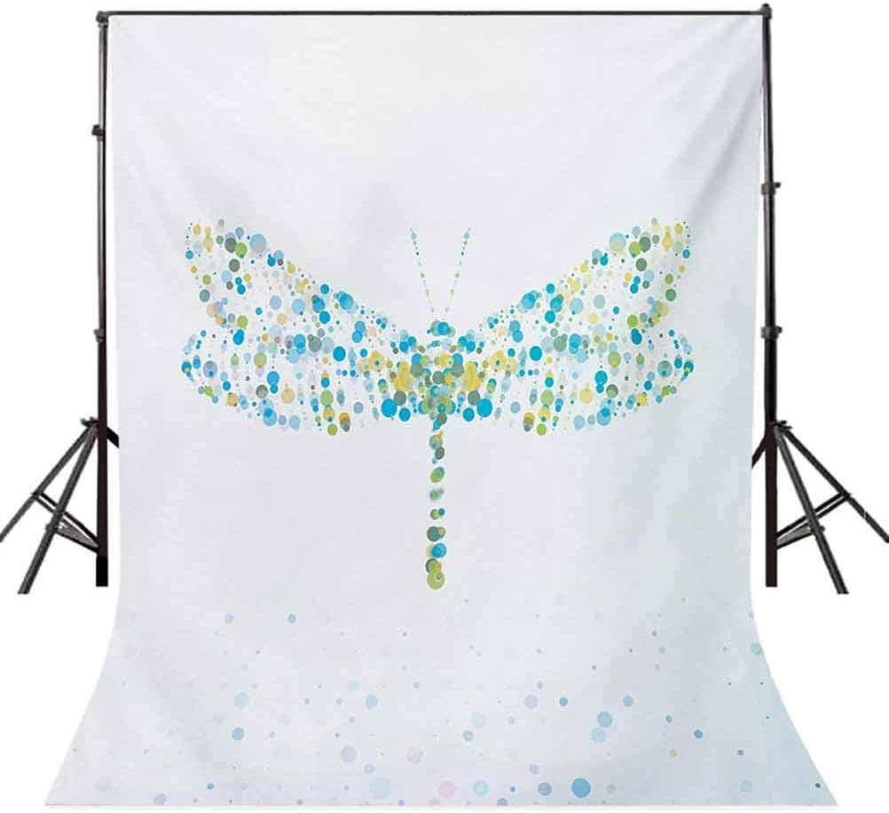 Macro Futuristic Digital Dragonfly Figure Made with Spots and Dots Dynamic Insect Background for Baby Birthday Party Wedding Vinyl Studio Props Photography Dragonfly 10x15 FT Photography Backdrop