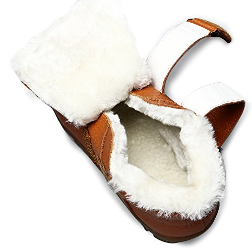 VILOCY Winter Jungen Wasserdicht Leder Schuhe Kinder Schule Sneaker Stiefel Anti-Rutsch Draussen Schuh Braun