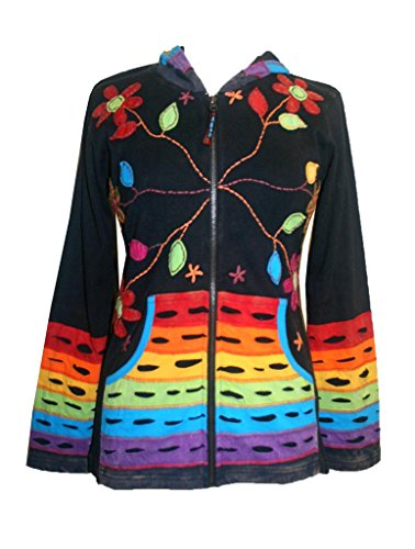 Embroidered Jacket Multi (RJ 355 Rainbow Rib Embroidered Cotton Bohemian Jacket (Multi XXL))