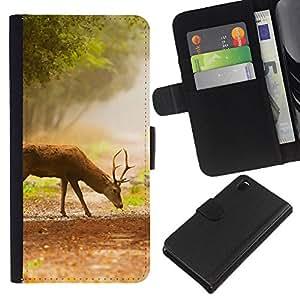 KLONGSHOP // Tirón de la caja Cartera de cuero con ranuras para tarjetas - Comer ciervos - Sony Xperia Z3 D6603 //