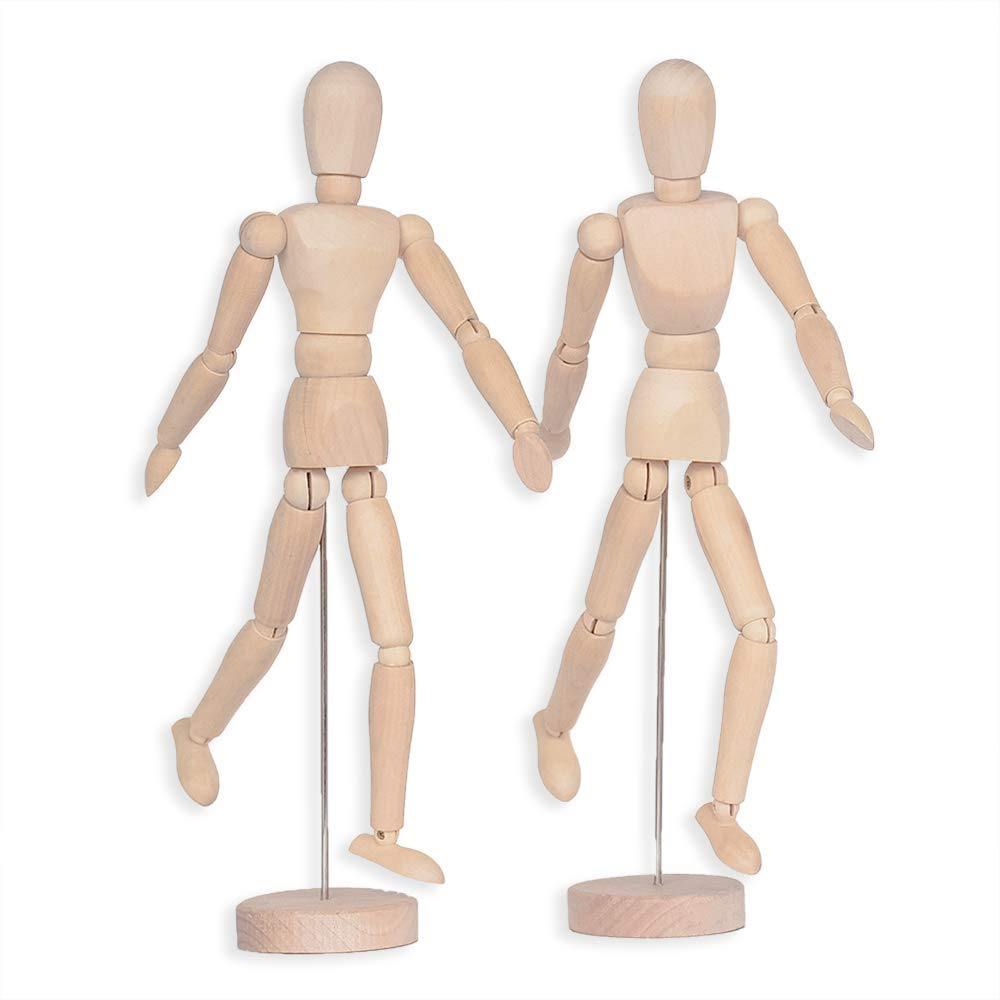 Alikeke 2 Pack 12 Inches Tall Wooden Mannequin Artist Manikin with Stand - Great for Drawing or Desktop Decor (Men and Women/Dad and Mom ) by Alikeke
