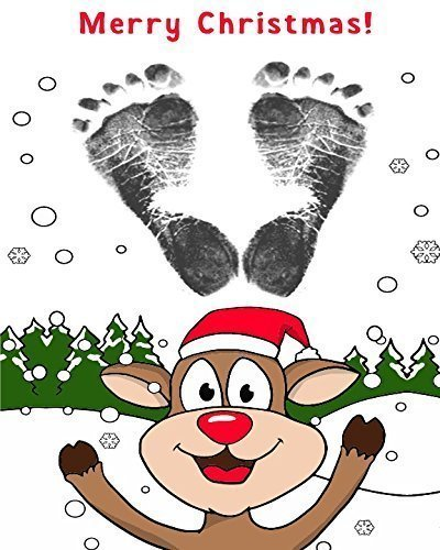 ReignDropBaby's Baby Footprints Cards Making Kit with Ink Pad - Reindeer Christmas Cards from ReignDropBaby